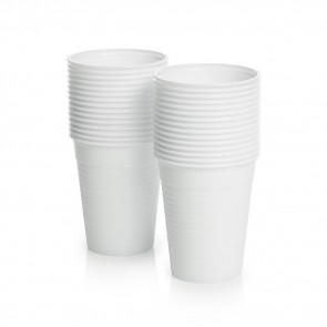 Disposable Plastic Cups 180 cc - White - Pack of 100