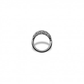 (23) Segment Ring Clicker Pave Zirconia 5 White - Stainless steel - Thickness 1.2 mm / Ø 8 mm