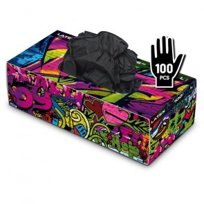 Graffiti Gloves - Latex - Black - Box of 100